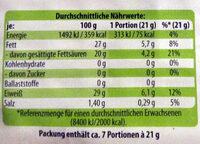 Bio-Bergtaler mild-süßlich - Nährwertangaben - de