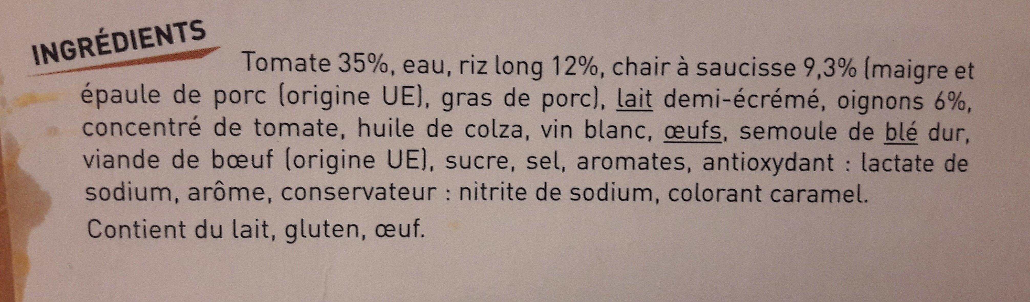 Tomate farcies et riz - Ingrédients