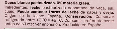 Queso blanco pasteurizado 0% materia grasa - Ingredientes