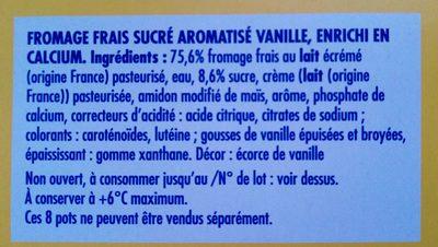 Fromage blanc saveur vanille - Ingrédients