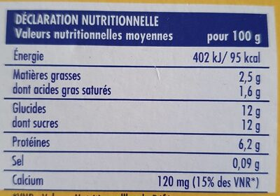 Fromage blanc vanille 2,5% - Informations nutritionnelles - fr