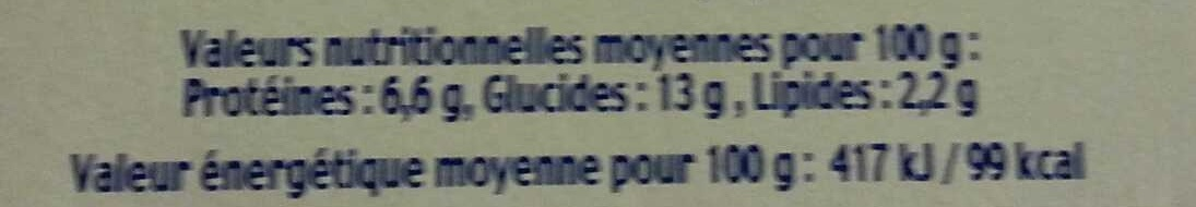 Fromage blanc saveur vanille - Nutrition facts