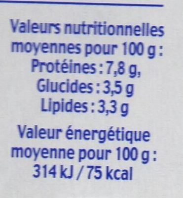 Fromage blanc 3,3% - Informations nutritionnelles