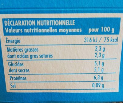 Fromage blanc - Nutrition facts - fr