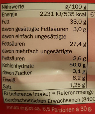 Chips Paprika - Nutrition facts