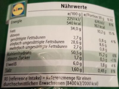 Paprika Chips - Nährwertangaben - de