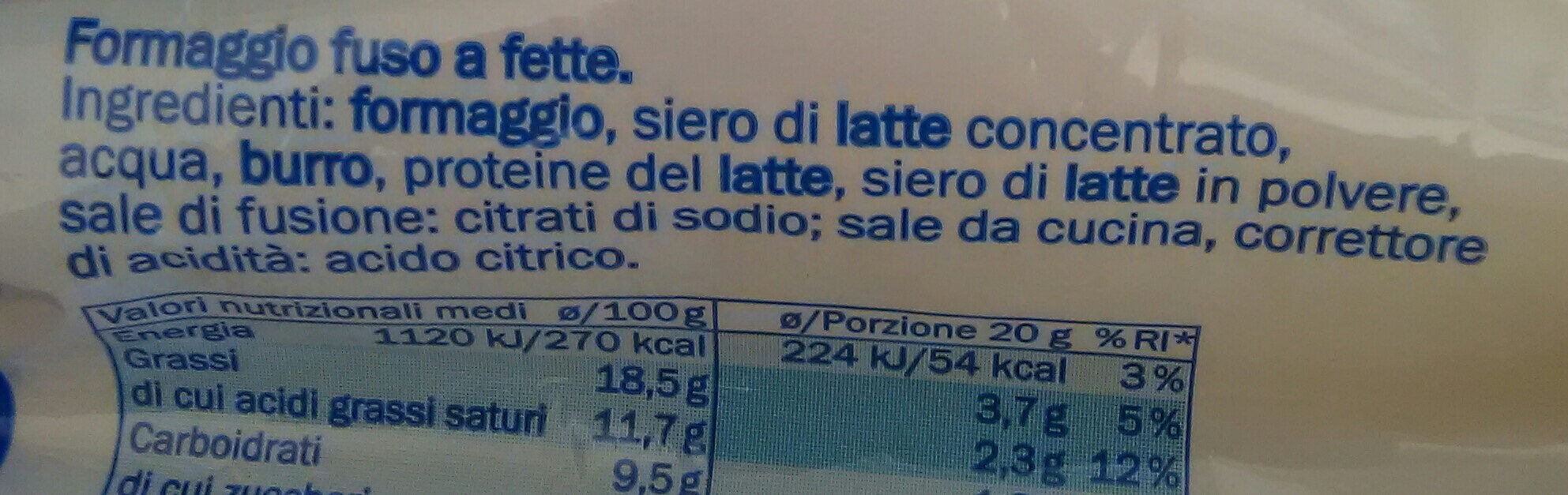 fettine di formaggio fuso - Ingredients - it