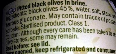 Pitted black olives - Ingrédients - en