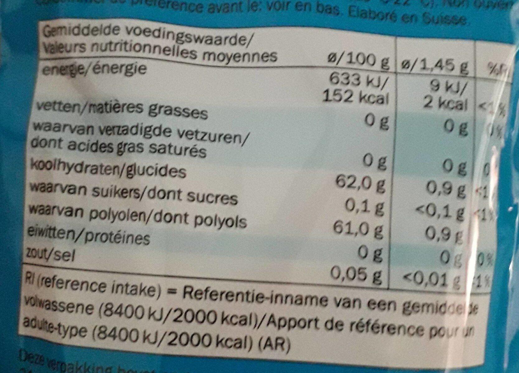 Jetgum - Informations nutritionnelles - fr