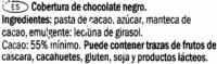 Cooking chocolate Dark 55% cacao - Ingredientes - es