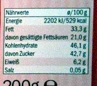 Cooking chocolate Dark 55% cacao - Información nutricional - es