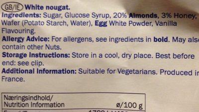 Weißer Nougat - Ingredients - de