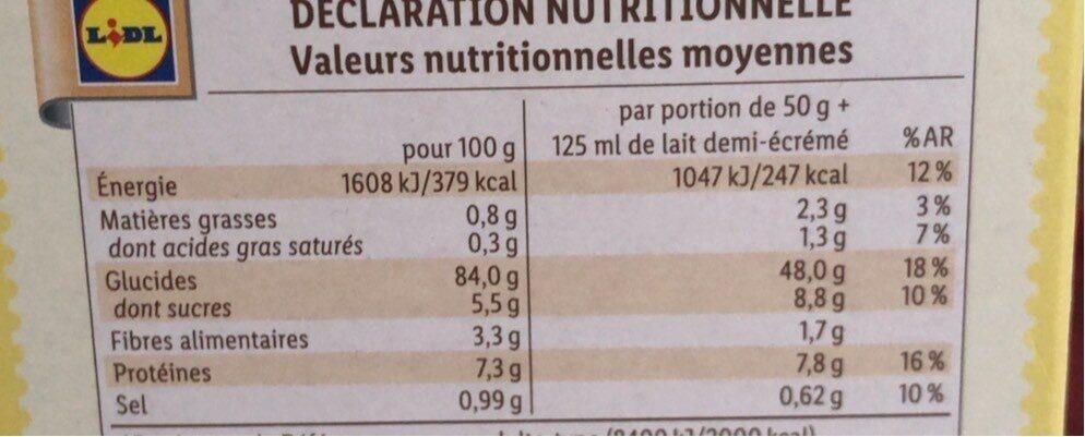 Corn Flakes - Información nutricional - fr