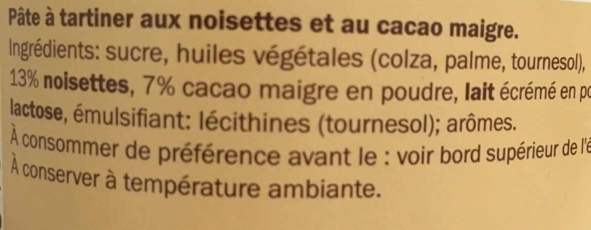 Choco nussa - Ingrédients