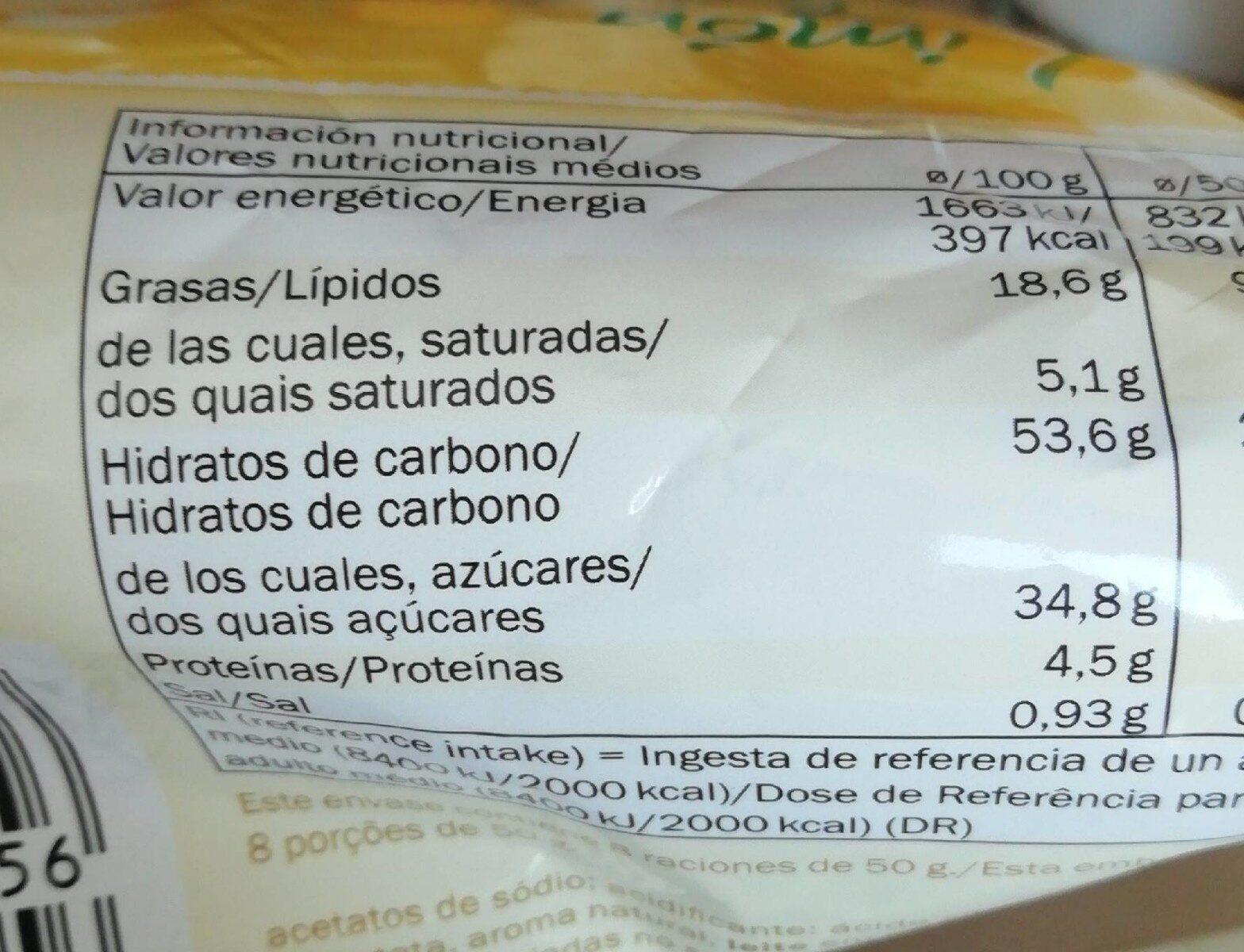Bizcocho de limón - Nutrition facts - en