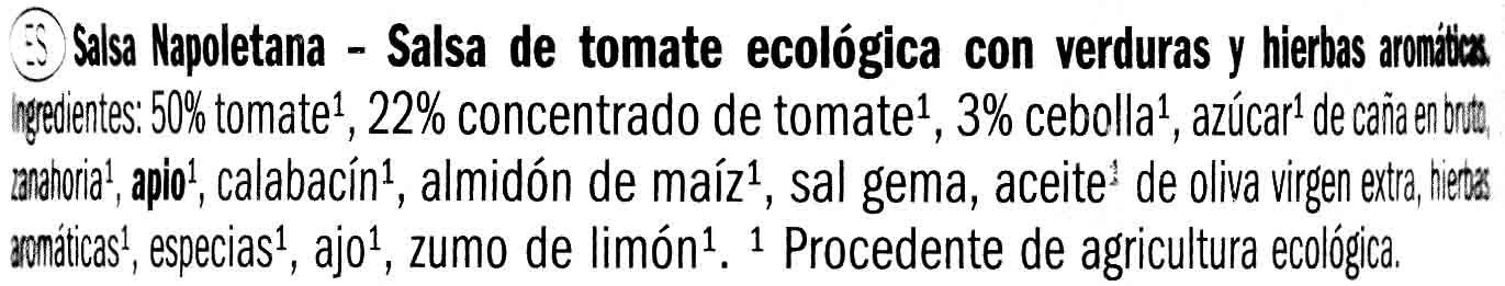 Salsa de Tomate Napoletana Bio - Ingrediënten - es