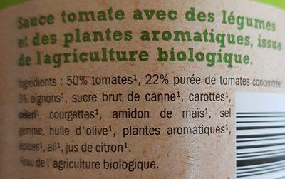 Salsa de Tomate Napoletana Bio - Ingrédients