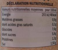 Salsa de Tomate Napoletana Bio - Informations nutritionnelles