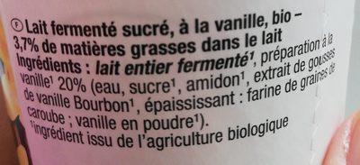 Bio-Joghurt mild vanille - Ingredients