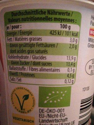 Bio-Joghurt mild vanille - Nutrition facts