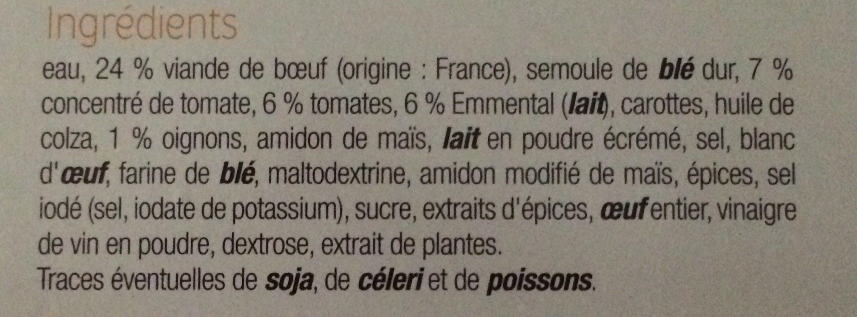 Lasagnes bolognaise - Ingrédients - fr