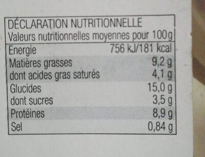 Lasagnes bolognaise - Informations nutritionnelles - fr