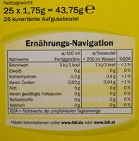 Grüner Tee Zitrone - Nutrition facts - de