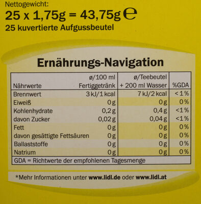 Grüner Tee Zitrone - Nutrition facts