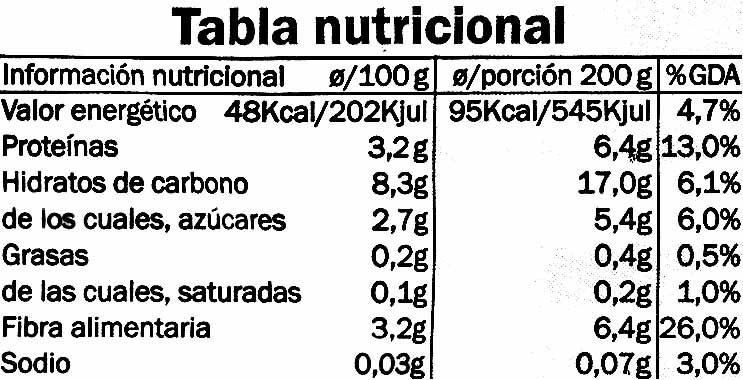 Menestra suprema congelada - Información nutricional - es