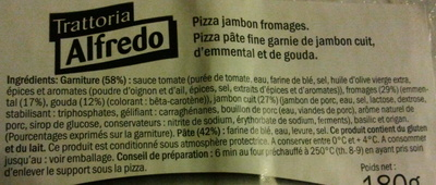 Pizza jambon fromages - Ingredients