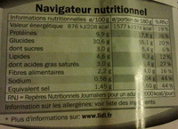 Pizza jambon fromages - Nutrition facts