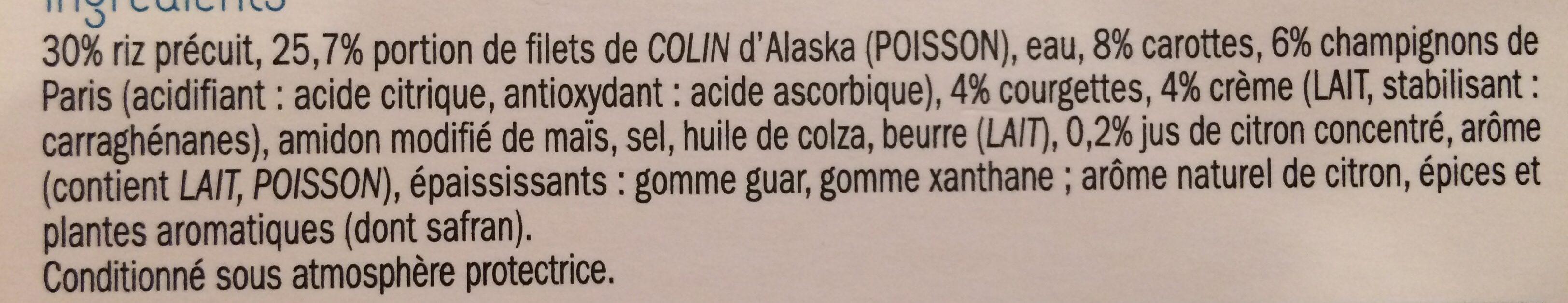Colin d Alaska sauce citron & son riz safrané - Ingrédients - fr