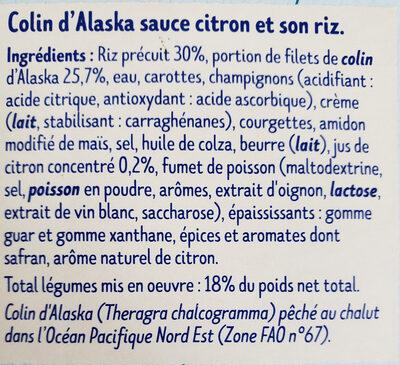 Colin d'Alaska sauce citron et son riz - Ingrédients - fr