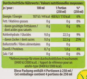 Bio-Orangensaft - Voedingswaarden - de