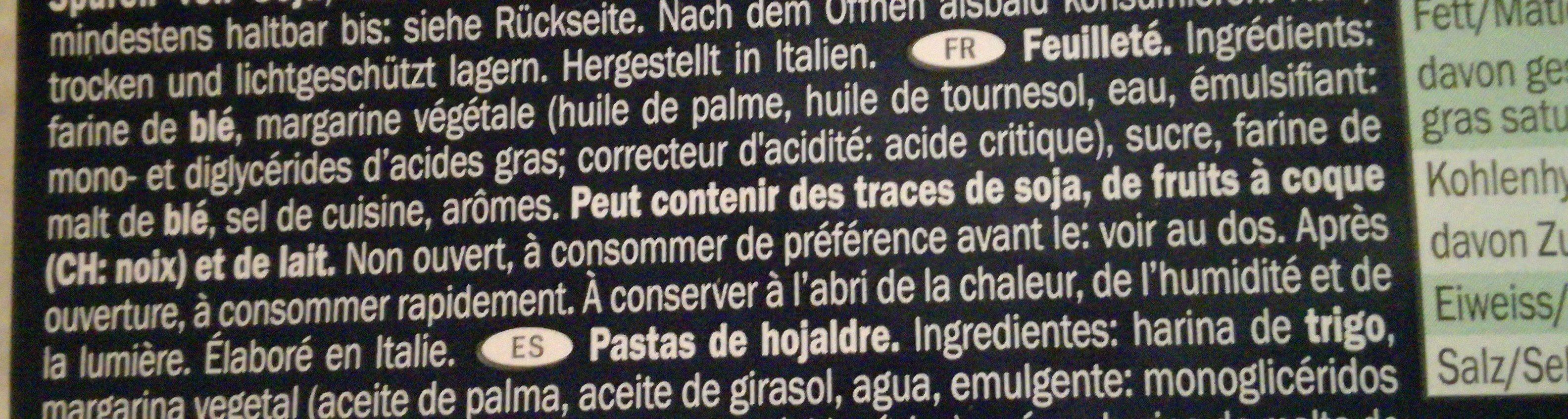 Le Sfoglie, Puff Pasty - Ingrediënten - fr