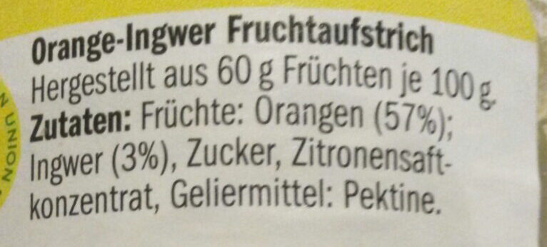 Fruchtgenuss, 60% Frucht, Orange-Ingwer - Ingredients - de