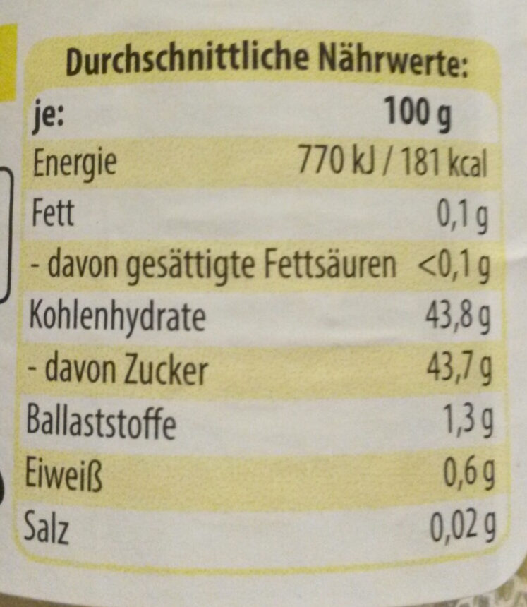 Fruchtgenuss, 60% Frucht, Orange-Ingwer - Nutrition facts - de