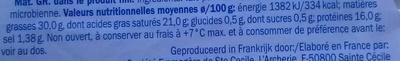 Petit Brie (30 % MG) - Voedingswaarden - fr