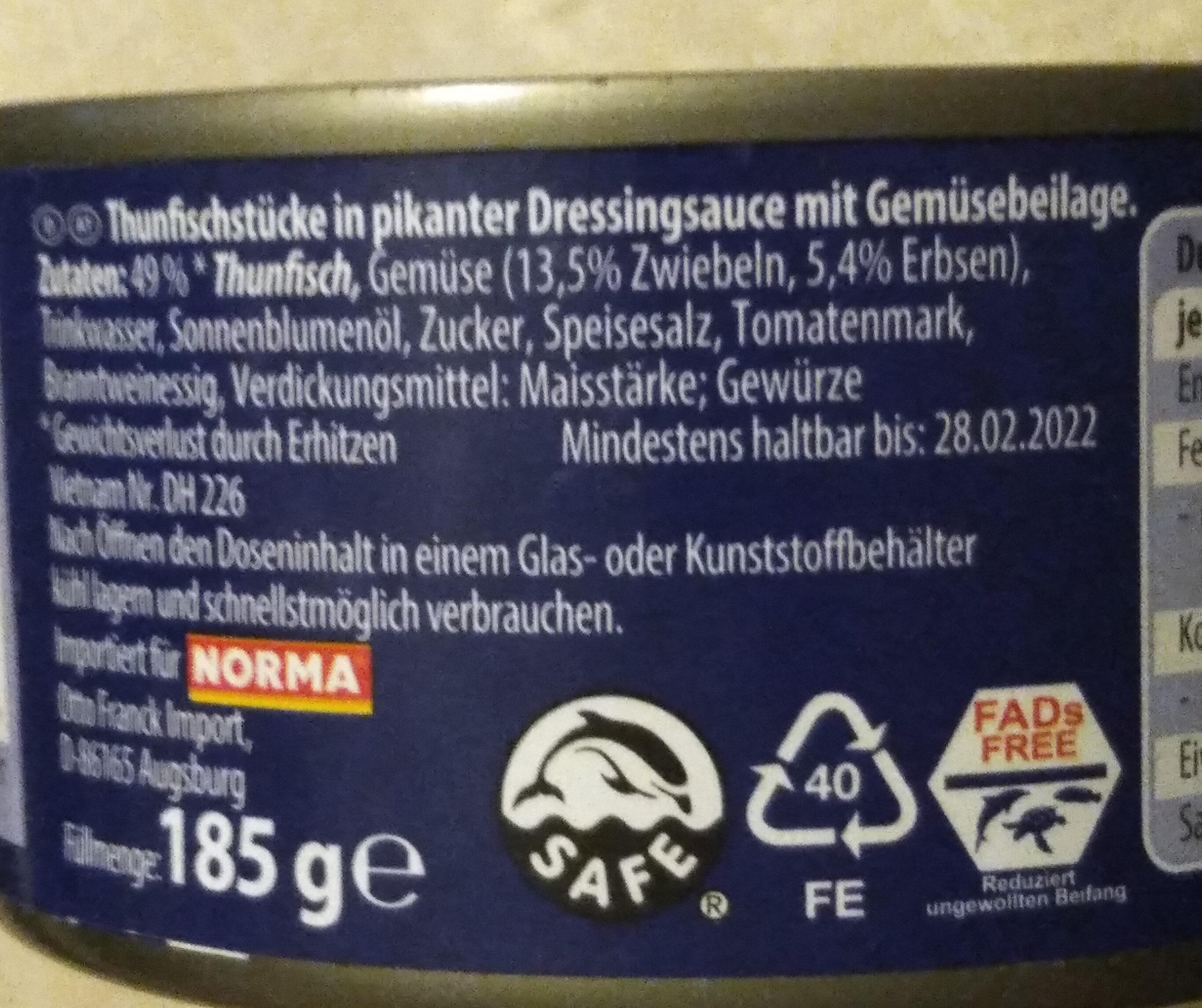 Thunfischstücke in pikanter Sauce - Ingrediënten
