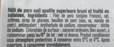 Rôti de porc 100% filet - Ingredients