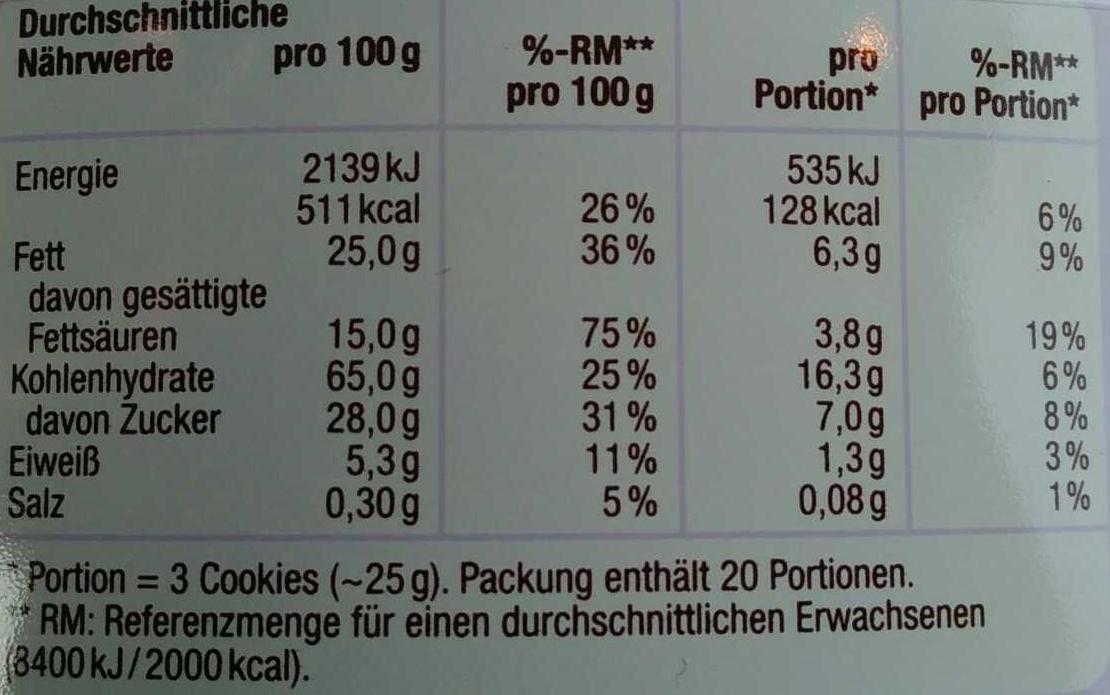 Danish Butter Cookies & Chocolate Chip Cookies - Nährwertangaben - de