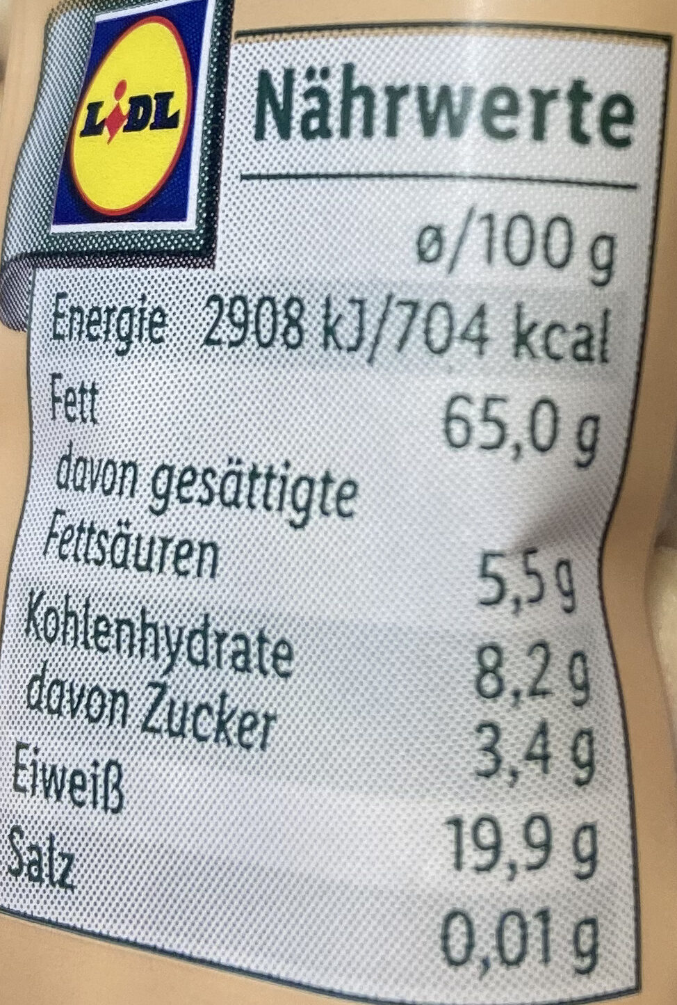Pinienkerne - Valori nutrizionali - de