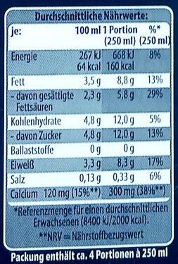 Frische Vollmilch - Nutrition facts - de