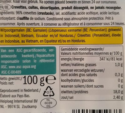 Garnelen, Lidl - Ingrediënten