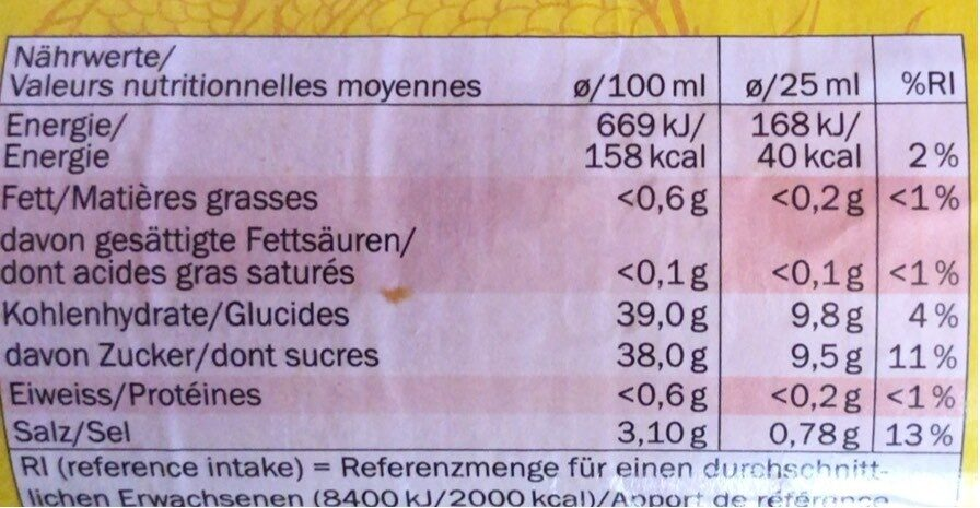 Sweet Chilli sauce - Informations nutritionnelles - fr