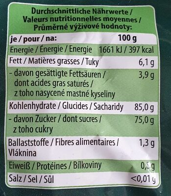 Mint Toffees - Valori nutrizionali - de