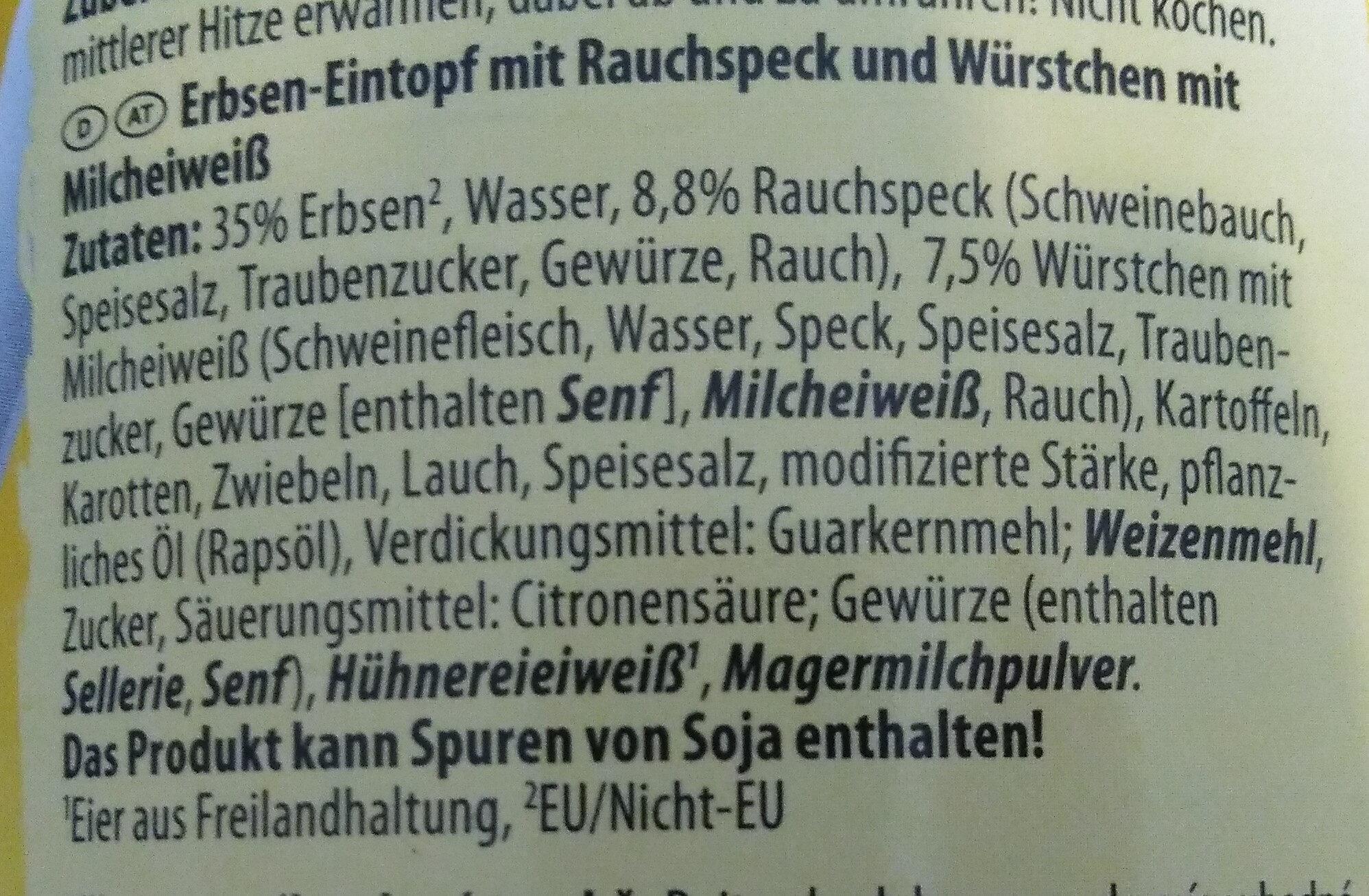 Erbsen Eintopf - Ingredienti - de