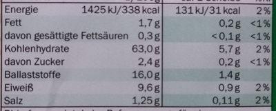Roggen Vollkorn-Knäckebrot Grafschafter - Informação nutricional