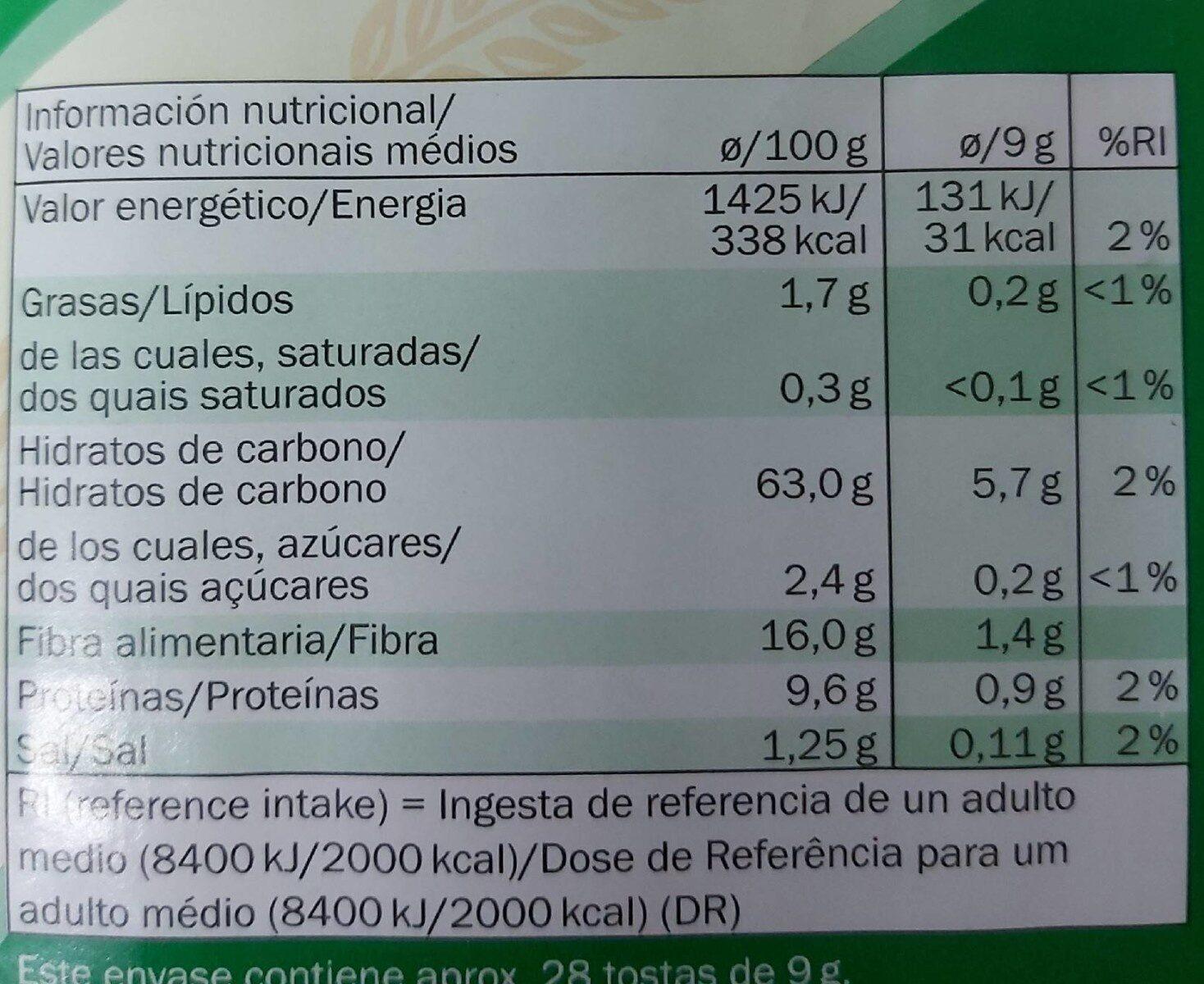 Tostadas integrales de centeno - Informations nutritionnelles - de