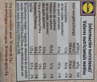 Tostas integrales de centeno - Informação nutricional - de